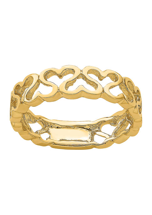 14K Yellow Gold Polished Heart Band