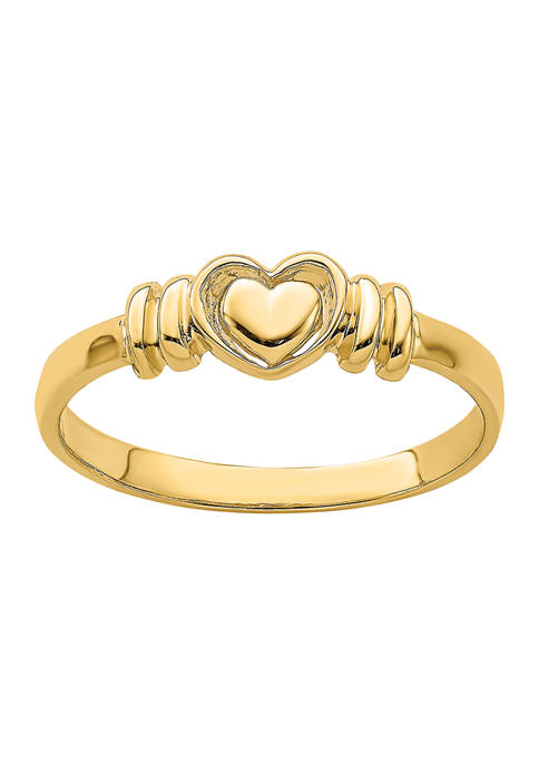 14K Yellow Gold Polished Heart Ring
