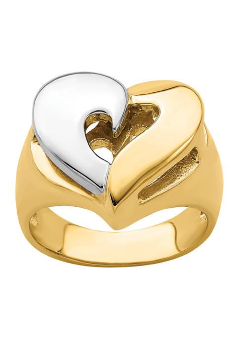 Belk & Co. 14K Two Tone Polished Heart