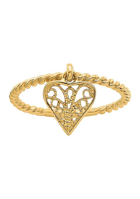 14K Yellow Gold Dangle Heart Ring