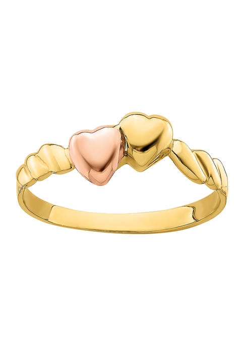 14K Two-Tone Two Hearts Ridged Band