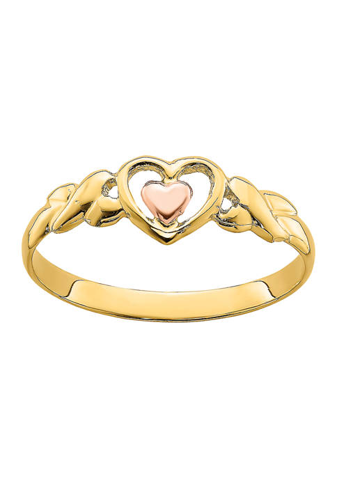 14K Two-Tone Polished Hearts Ring
