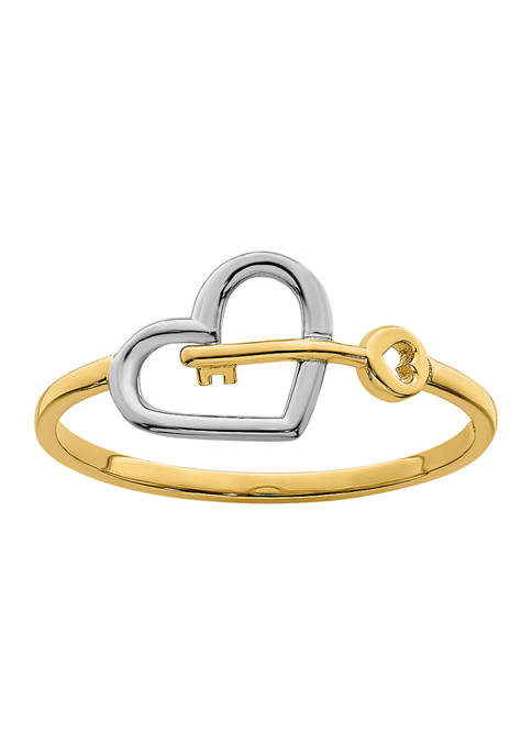Rhodium-Plated Heart and Key Ring in 14K Yellow Gold