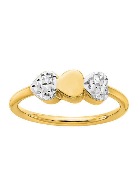 Diamond-Cut Hearts Ring in 14K Two-Tone Gold
