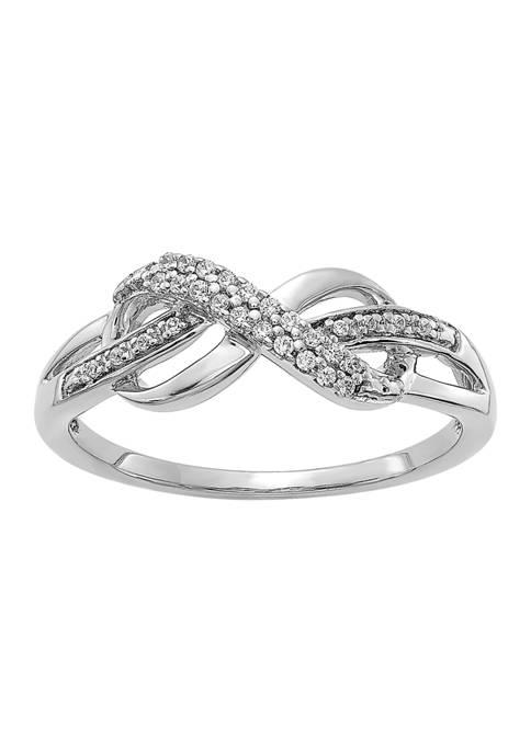 1/10 ct. t.w. Diamond Infinity Symbol Ring in 14K White Gold