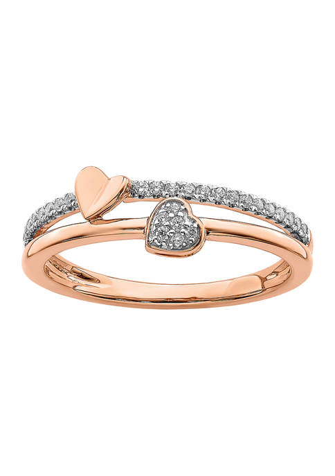 1/8 ct. t.w. Diamond Hearts Polished Ring in 14K Rose Gold