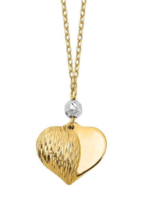 Belk & Co. Diamond-Cut Puffed Heart Necklace in