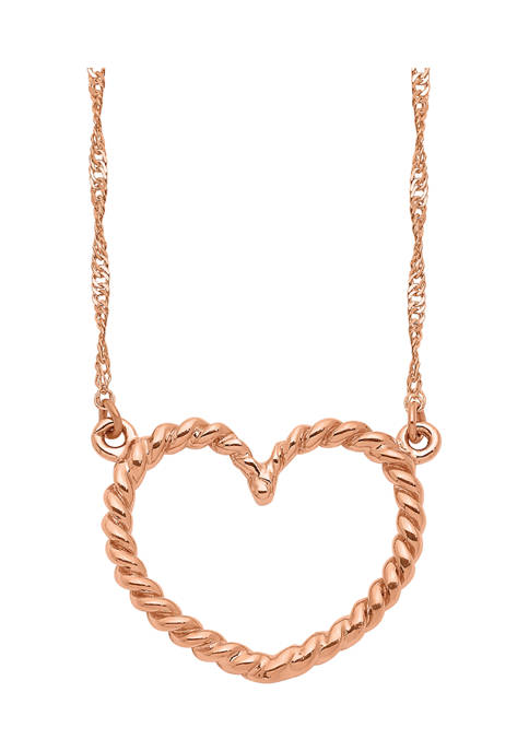 Belk & Co. Polished and Textured Heart Necklace
