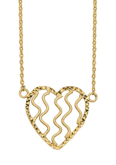 Belk & Co. Polished Satin and Diamond-Cut Heart