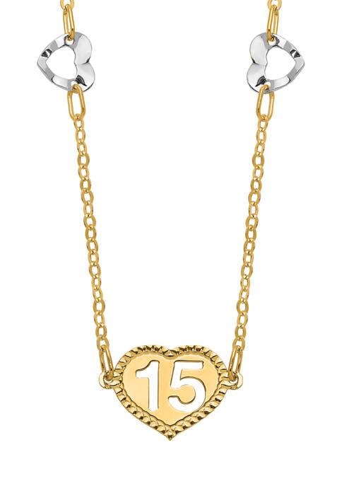 Belk & Co. Polished 15 Heart Necklace in