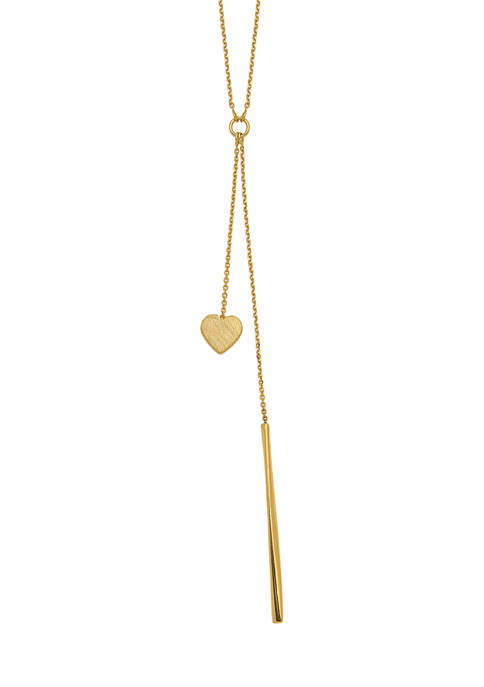 Belk & Co. Polished Vertical Bar Brushed Heart