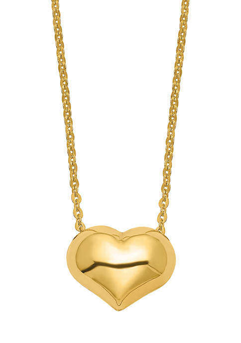 16.5 Inch Polished Puffed Heart Necklace in 14K Yellow Gold