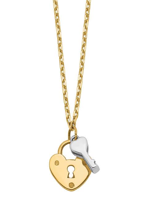Belk & Co. 14K Two Tone Heart Lock