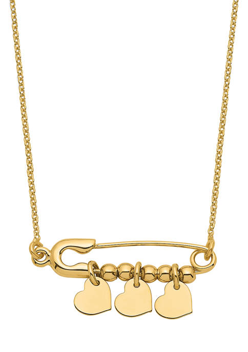 14K Yellow Gold Safety Pin with Dangle Hearts Necklace