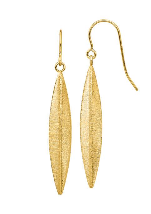 14K Yellow Gold Brushed Dangle Earrings