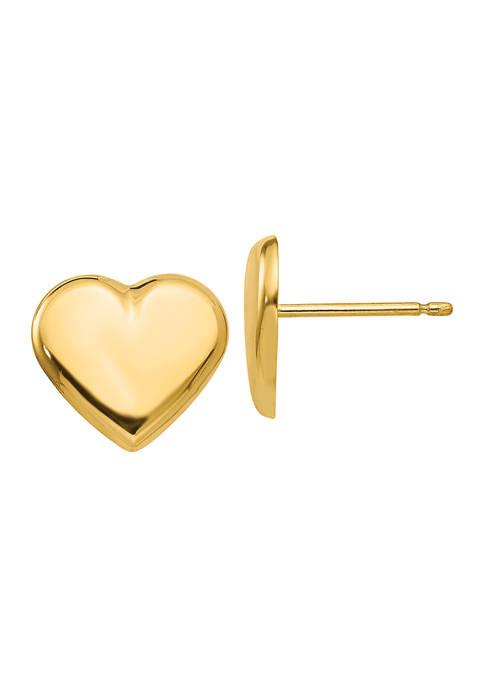 Belk & Co. 14K Yellow Gold Heart Post