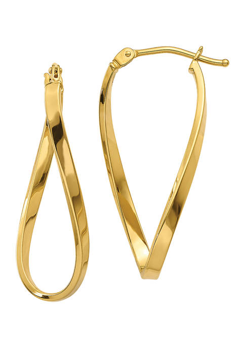 14K Yellow Gold Small Twisted Earrings
