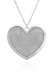Sterling Silver Sparkle Heart Pendant