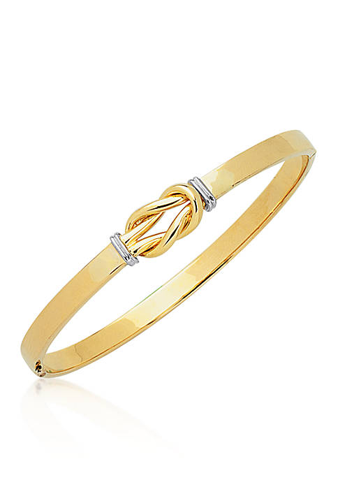 14k Two Tone Gold Love Knot Bangle