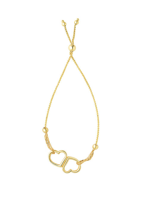 Gold Bolo Open Heart Bracelet