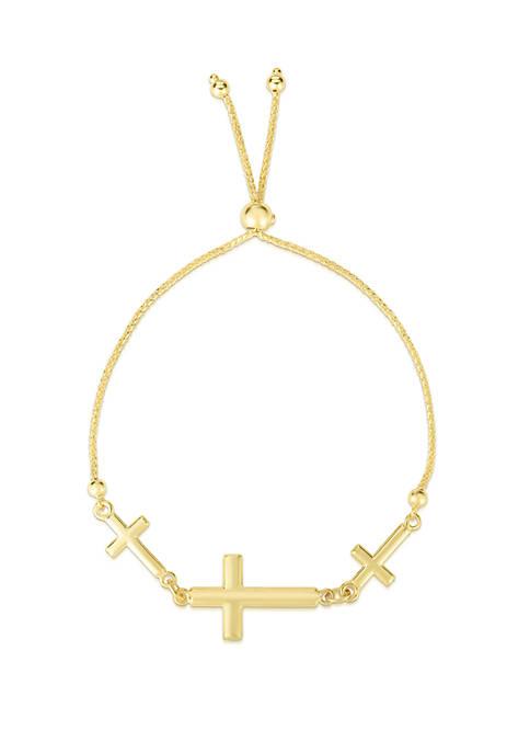 3 Sideway Crosses Gold Bolo Bracelet