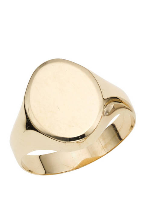 Polished Oval Ring in 14k Yellow Gold