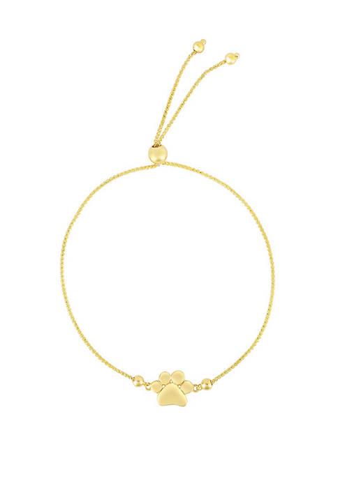 Paw Print Charm Bracelet in 14k Yellow Gold