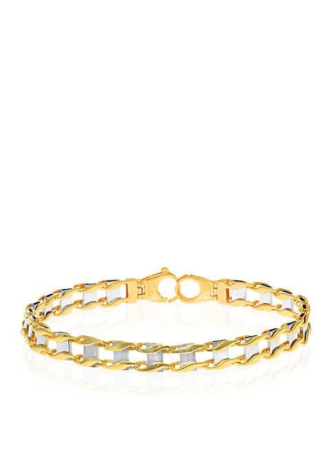 Mens 14k Two-Tone Gold Bracelet