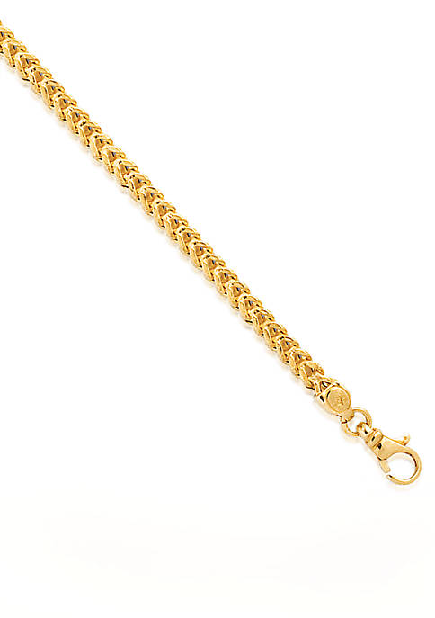 14k Yellow Gold Square Franco Bracelet