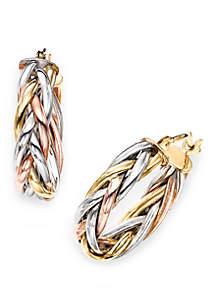 Belk & Co. Gold Tricolor Braided Hoop Earrings