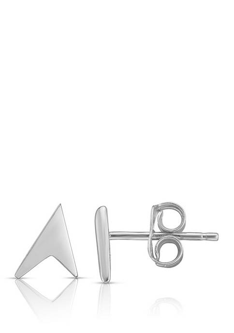 Pointer Post Earrings in 14K White Gold