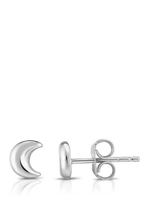 Moon Post Earrings in 14K White Gold