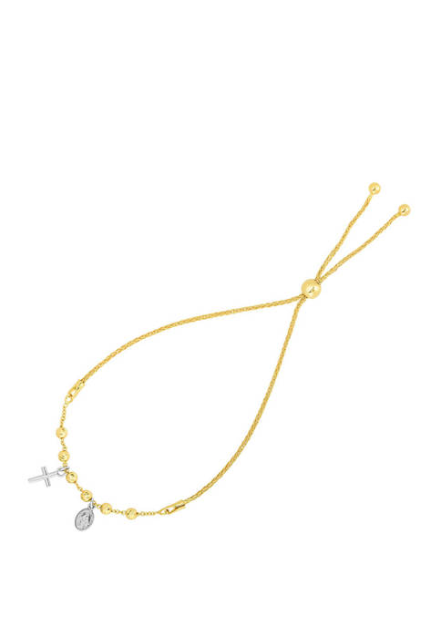 Cross Adjustable Bracelet in Two Tone 14K Gold