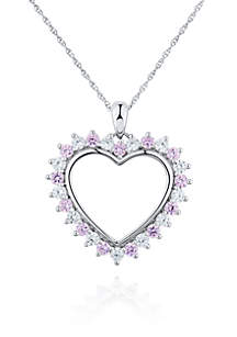 Pink and White Cubic Zirconia Heart Pendant in Platinum Plated Sterling Silver