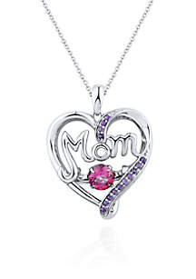 Sterling Silver Moving Pink Topaz and Amethyst Mom Heart Pendant
