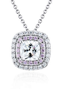 Platinum Plated Sterling Silver White and Pink Cubic Zirconia Pendant