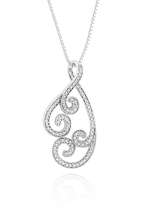 Belk & Co. Diamond Swirl Pendant in Sterling