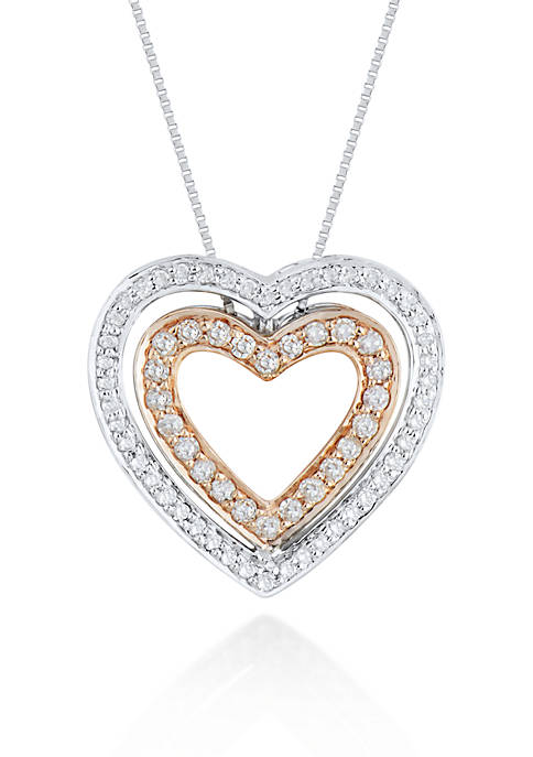 Diamond Heart Pendant in 10k White and Rose Gold