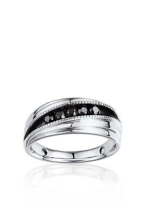 Mens Black Diamond Ring in Sterling Silver