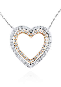 Diamond Heart Pendant in 10k White and Rose Gold
