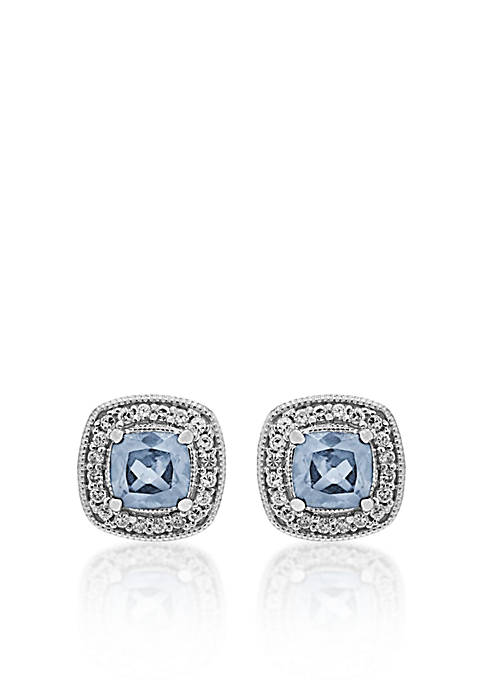 Sterling Silver Aquamarine and Diamond Stud Earrings