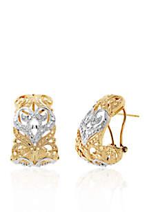 14k Two Tone Gold Heart J Hoop Earrings