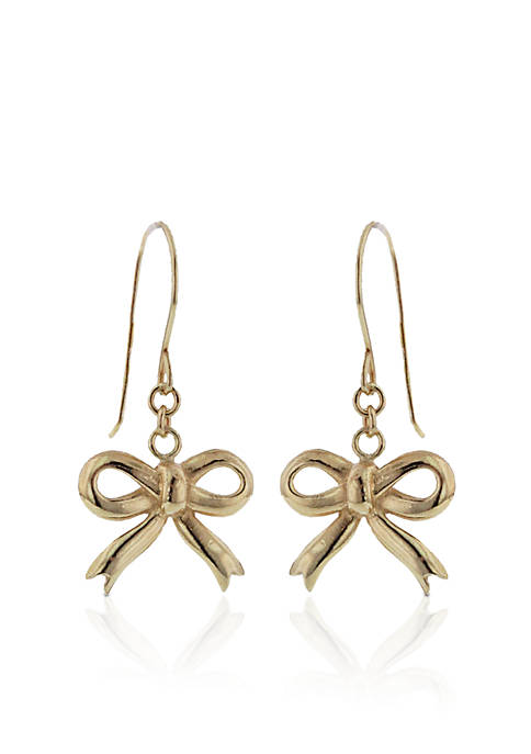 14K Gold Bow Earrings