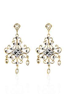 14k Two Tone Gold Chandelier Earrings