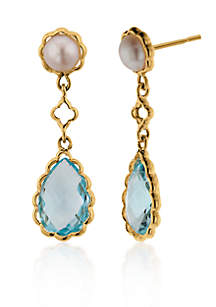 14k Yellow Gold Blue Topaz and Pearl Earrings