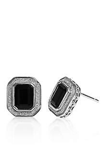Onyx Glitter Border Earrings in Sterling Silver