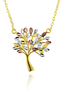 10k Tricolor Gold Tree of Life Pendant