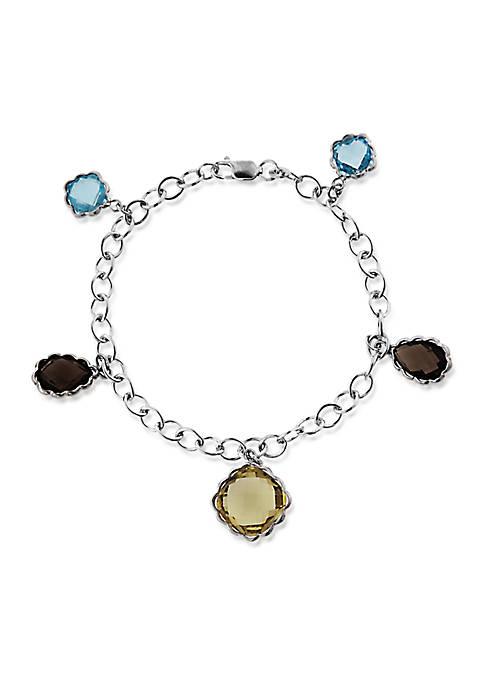 Sterling Silver Multi Gemstone Charm Bracelet