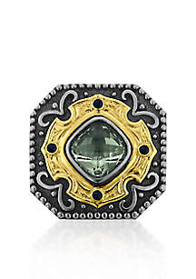 Sterling Silver with 14k Yellow Gold Green Amethyst and Sapphire Ring