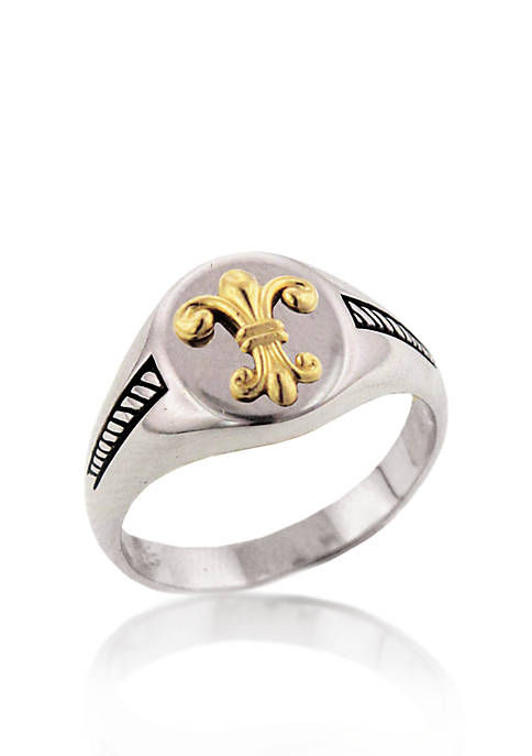 Sterling Silver with 14k Yellow Gold Fleur-de-Lis Signet Ring